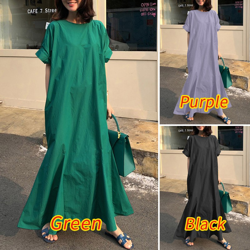 ZANZEA Women Short Sleeve Button Down Back Swing Solid Color Long Dress