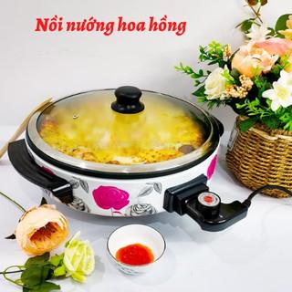 Nồi nướng điện đa năng họa tiết hoa hồng - Nướng chín thực phẩm, Làm PIZZA, tiết kiệm điện năng, sang trọng CA64 thumbnail
