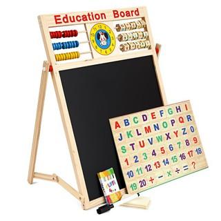 Bảng từ 2 mặt education Board và bộ số kèm bảng gỗ có núm phương tiện