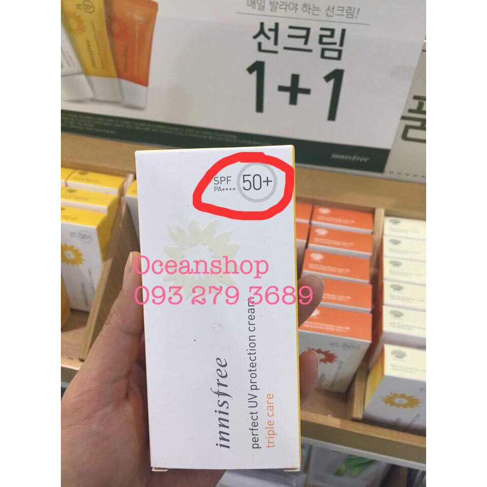Kem chống nắng Innisfree Perfect UV Protection Cream Triple Care SPF50 PA++++