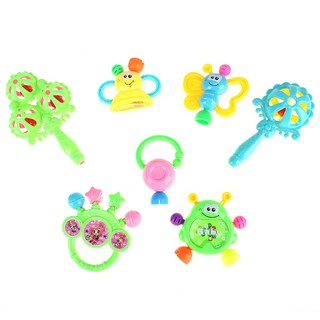 High 7pcs Plastic Hand Jingle Shaking Bell Rattles Toys Newborn Teether Baby Toy L&6