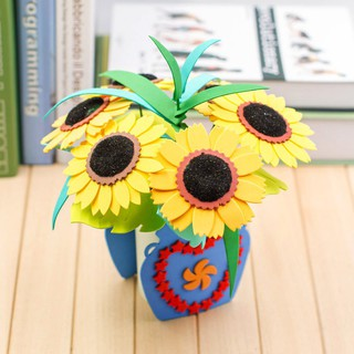 SALEChildren's handmade color flowers DIY potted flowers puzzle creative gift