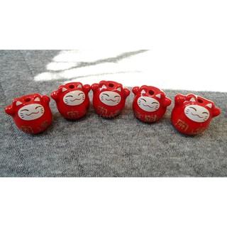 (cho kèm đinh cắm + đế ) mèo sứ đỏ, mèo may mắn, mèo xỏ vòng [nguyên liệu thủ công, phụ liệu handmade] thumbnail
