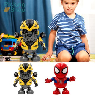 Dancing Spider Man Super Hero LED Flash Light Toy Action Figure DIY Toys