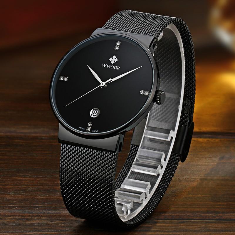 Dây đeo WWOOR 8018 cho đồng hồ nam bằng thép/ không thấm nước