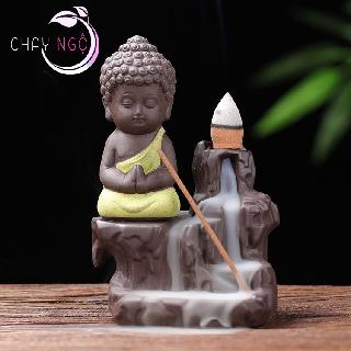 Thác Khói Trầm Hương Gốm Cao Cấp - Phật Tọa Bên Suối 5