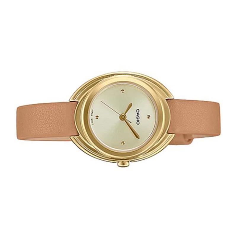 Đồng hồ nữ chính hãng casio Anh KhuêLTP-E166GL  dây da - có tem chống hàng giả