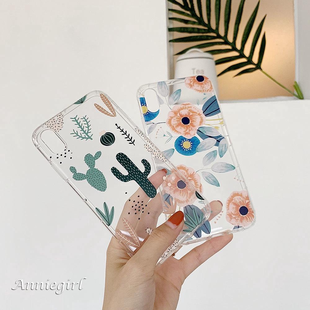 Ốp điện thoại TPU dẻo in họa tiết hoa lá/xương rồng xinh xắn cho IPhone 11 Pro Max XR Xs Max 6s 8 7 Plus