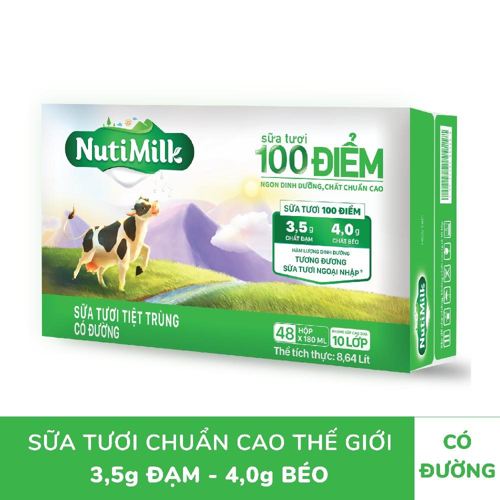 Thùng 48 hộp NutiMilk ST 100 điểm – ST tiệt trùng Có Đường Hộp 180 ml/hộp