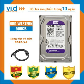 Ổ cứng HDD 500GB Western Tím - Tặng cáp sata 3.0 - Hàng tháo máy đồng bộ nhập khẩu từ Nhật Bản, Hàn Quốc mới 99%- BH 12T
