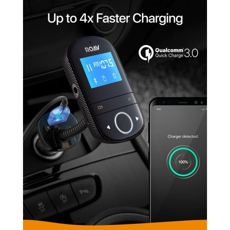 Tẩu sạc nhanh ô tô xe hơi thông minh Anker Roav SmartCharge F3, Q.C 3.0, nghe gọi, giải trí [Tech4Car]