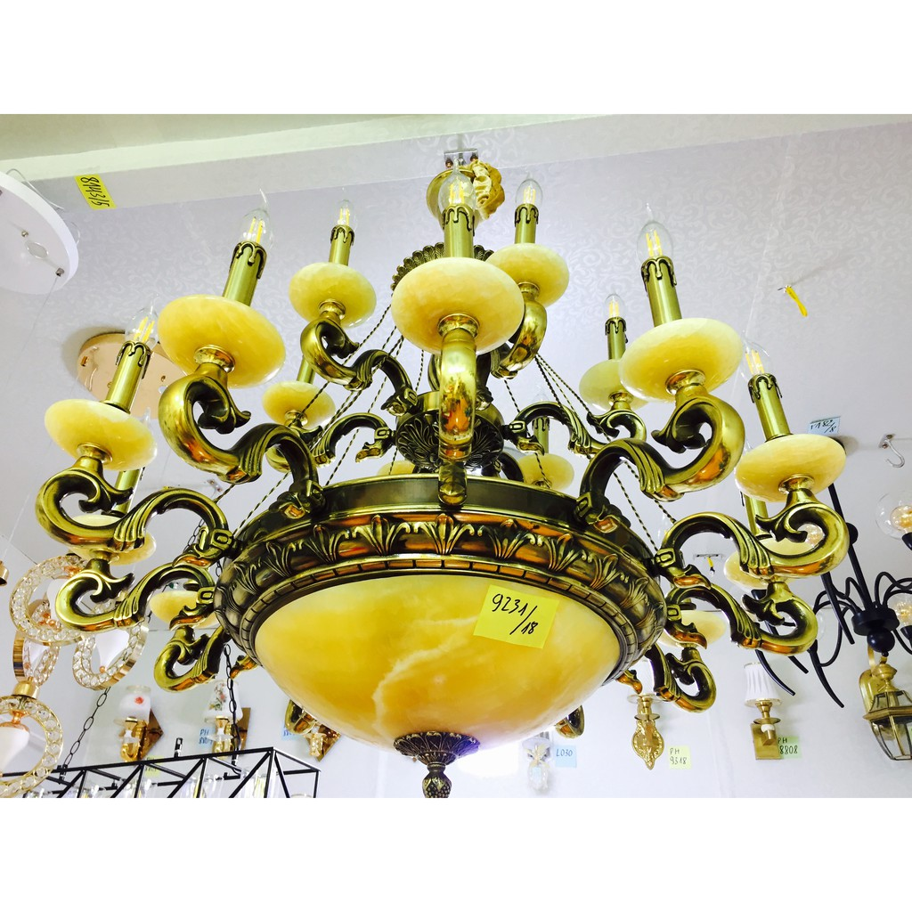 Bộ Đèn Chùm Đồng chao đá 18 tay DC9231-18+ Bộ bóng LED 800