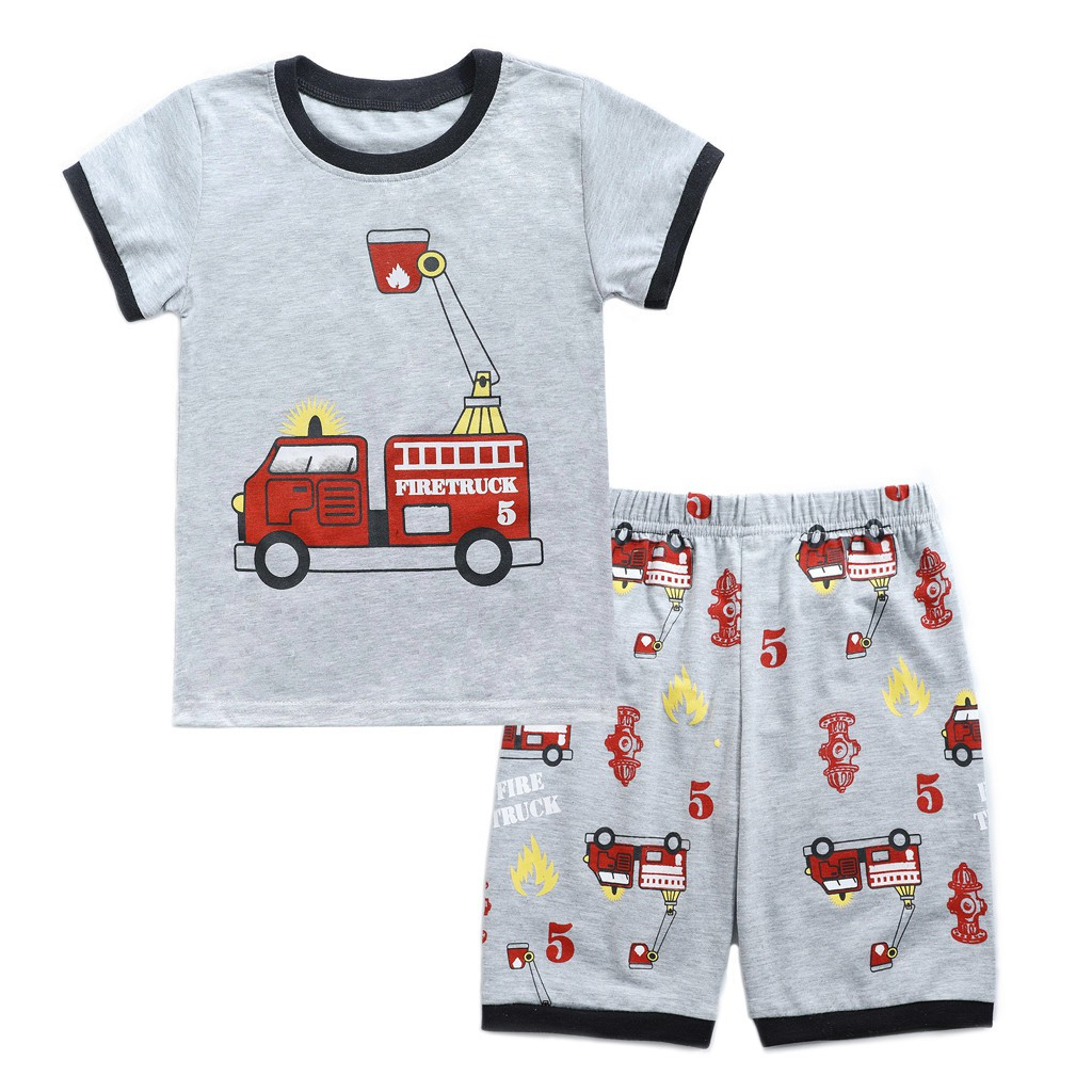 Toddler Baby Boys Cartoon Car Printed Letter Tops T-Shirt+Shorts Outfits Set