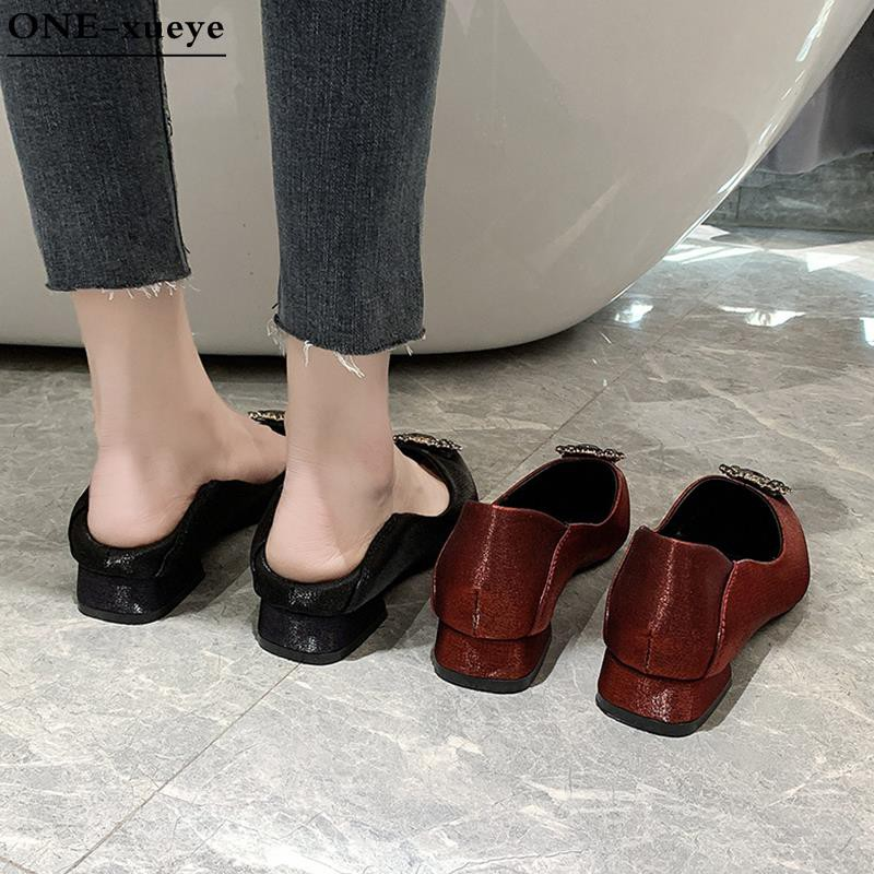AX-Pointed single shoes women 2020 new spring Korean version of the net red two wear sets of feet shallow mouth low help wild thick casual shoes