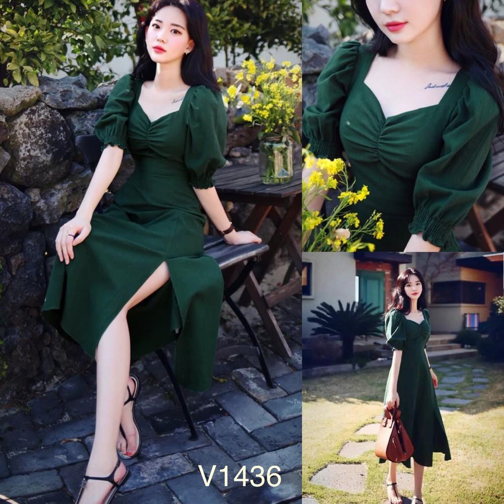 Váy xanh xẻ tà V1436 - Đẹp Shop DVC (Kèm ảnh thật trải sàn do shop tự chụp)