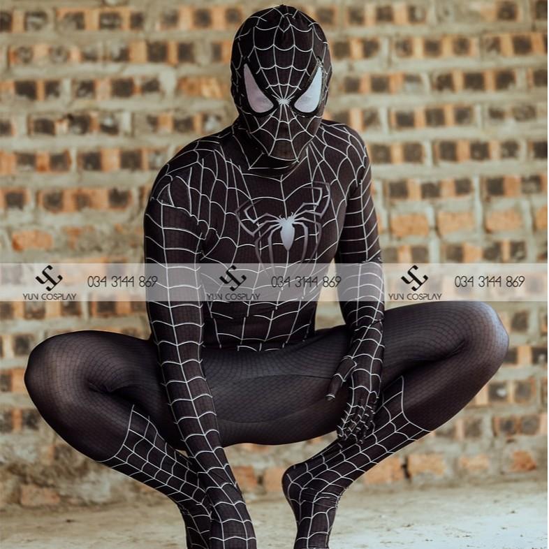 Người nhện trẻ em cosplay spiderman màu đen