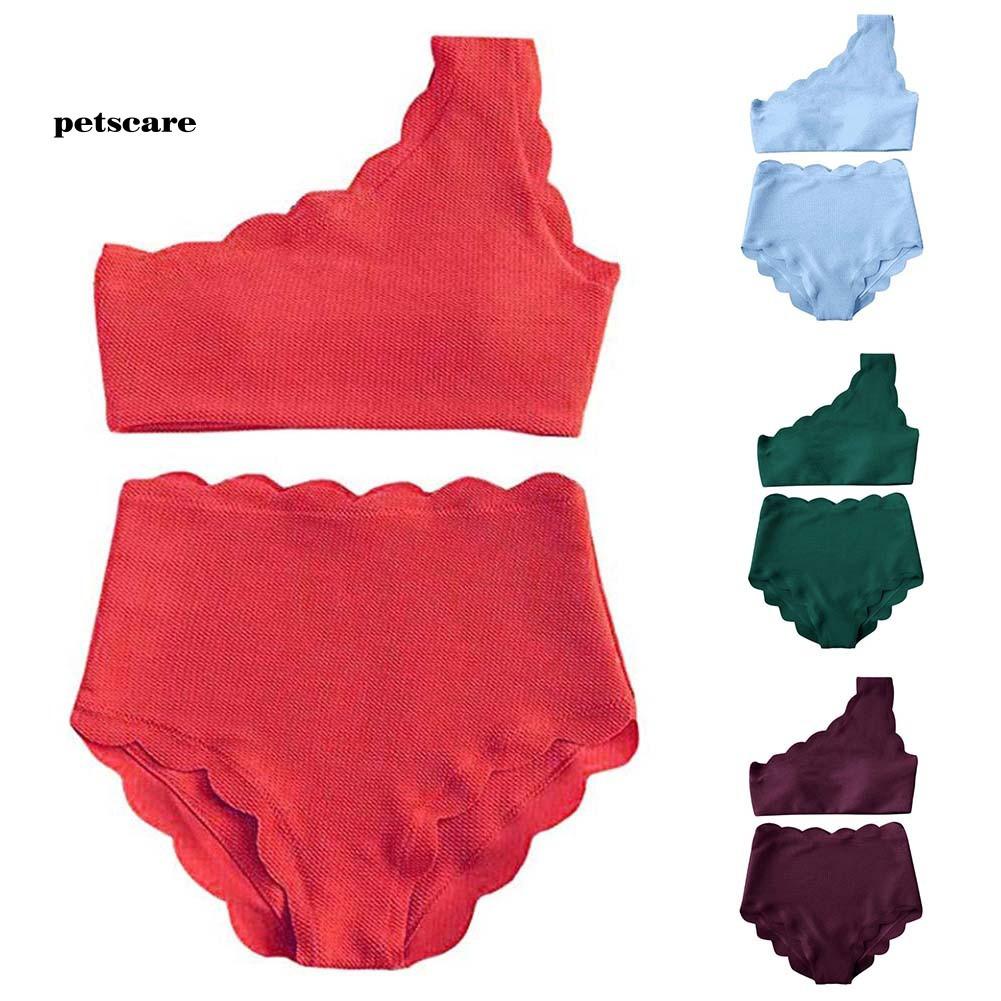 Ptcr_2Pcs Fashion Women One Shoulder High Waist Scalloped Bikini Set Summer Swimwear