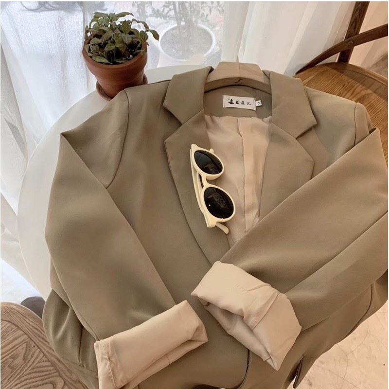 Áo vest nữ 2 lớp - Áo blazer trơn/kẻ tông màu lạ (hình thật/video/sẵn)