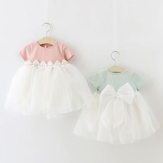 Đầm cotton dài tay cổ tròn phối lưới cho bé gái