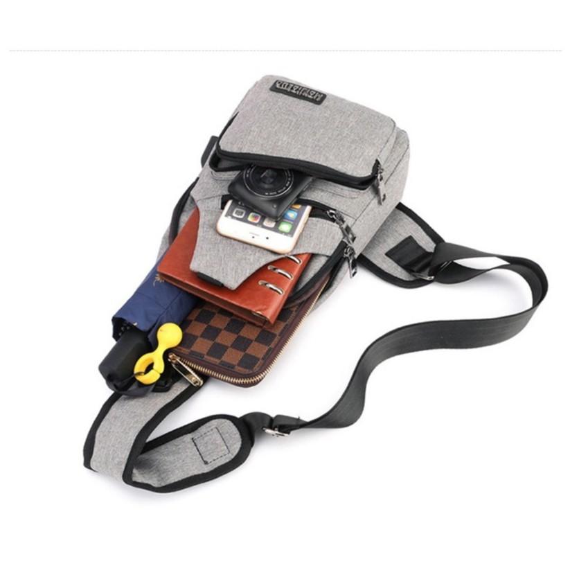 Túi đeo chéo nam nữ, Túi đeo thời trang có cáp sạc điện thoại tiện dụng TDCN08 AA