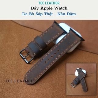 Dây đeo apple watch da, khâu tay thủ công, Dành Cho Series SE 6   5   4   3   2   1 38mm 40mm 42mm 44mm [DA THẬT]