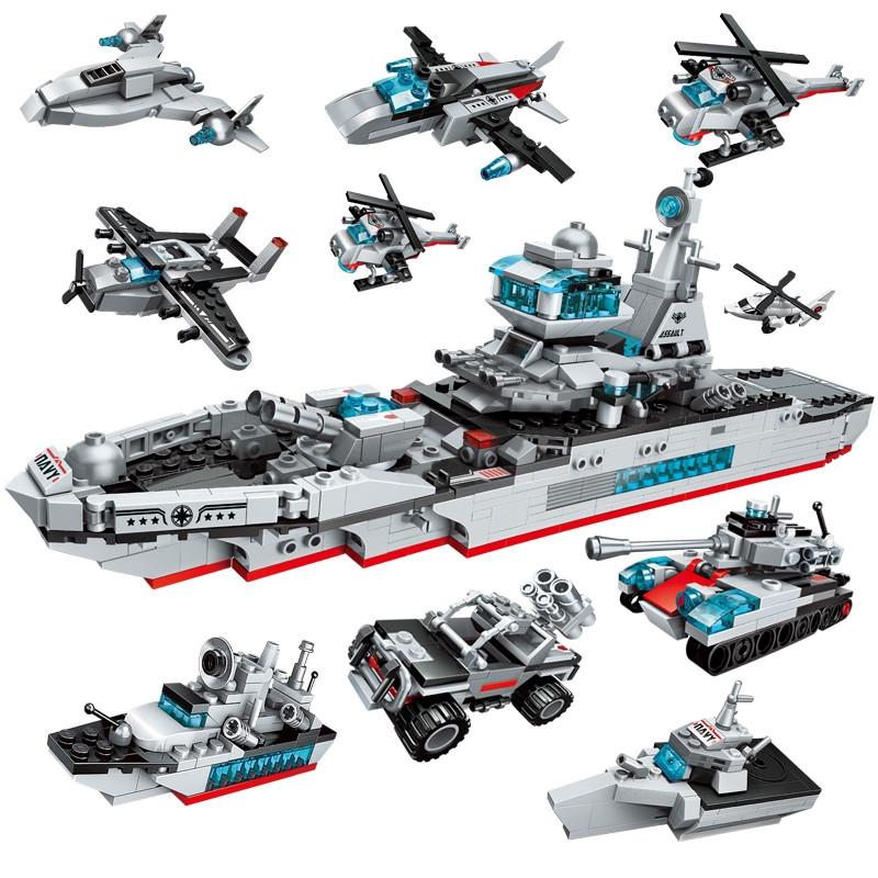 Xếp hình mô hình tàu chiến hạm từ các loại mô hình nhỏ sáng tạo 8 trong 1 đồ chơi ch