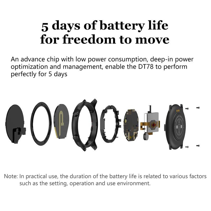 Đồng hồ thông minh Utelite DT78 theo dõi nhịp tim hỗ trợ tập thể dục chống thấm nước IP68