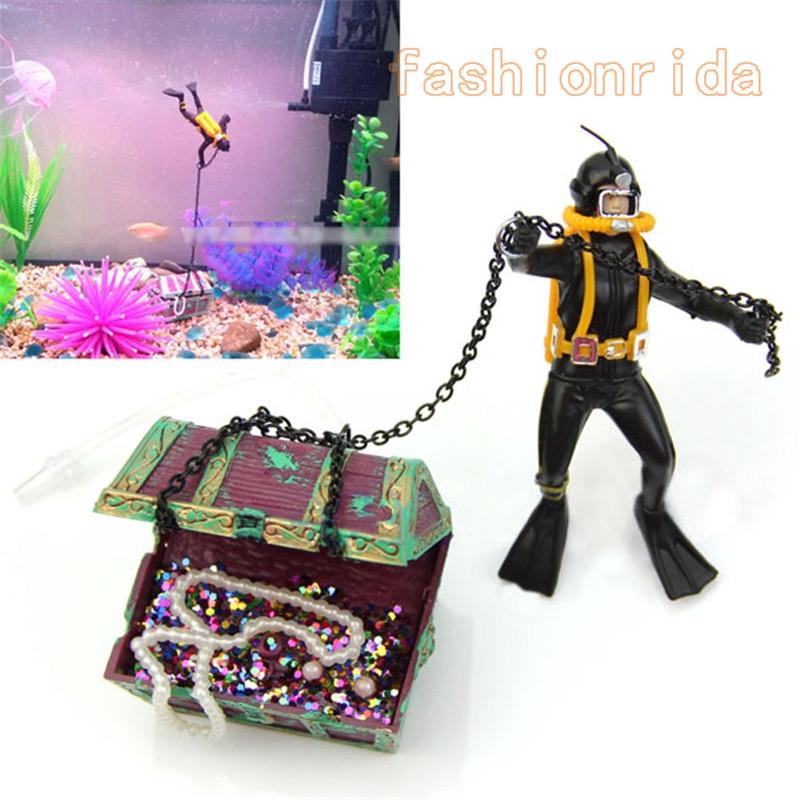 Phụ kiện trang trí bể cá hình thợ lặn và gương châu báu sáng tạo 9cm