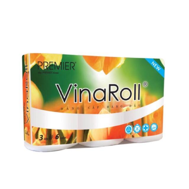 Giấy vệ sinh VinaRoll 6 cuộn 3 lớp cao cấp không lõi