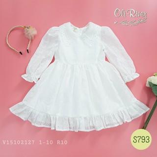 Đầm trắng tiểu thư bé gái 1-10 tuổi, thiết kế cổ ren