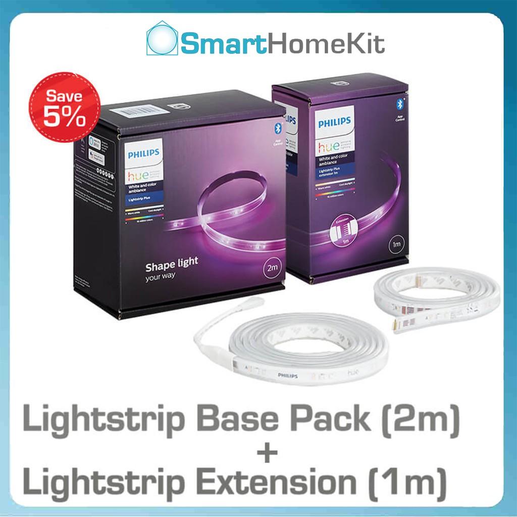 Combo đèn LED dây Philips Hue Lightstrip Base Pack (2m) + đèn mở rộng Extension (1m)