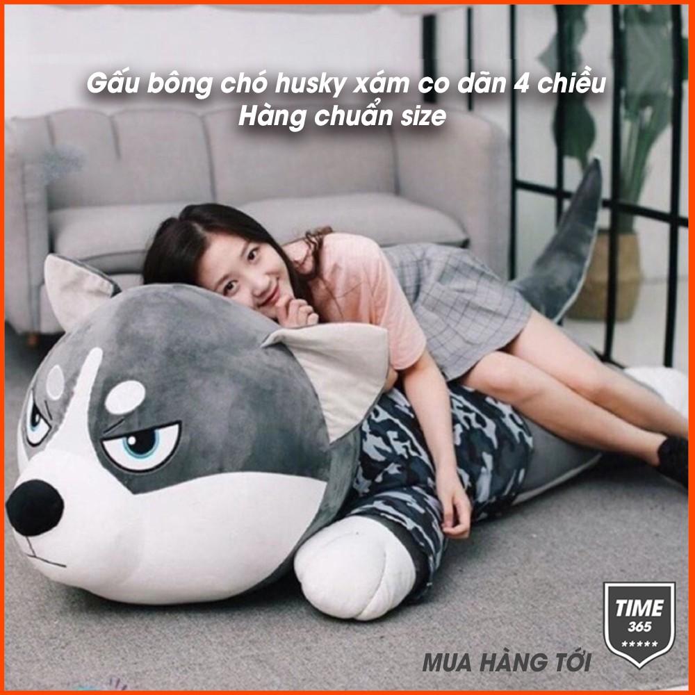 Gấu bông chó husky xám co dãn 4 chiều siêu to khổng lồ 1m1 – Thú nhồi bông size cao cấp