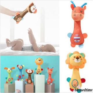 ❀Yaho❀New Boy Girls Newborn Baby Soft Sound Animal Plush Handbells Squeeze Rattle Toy