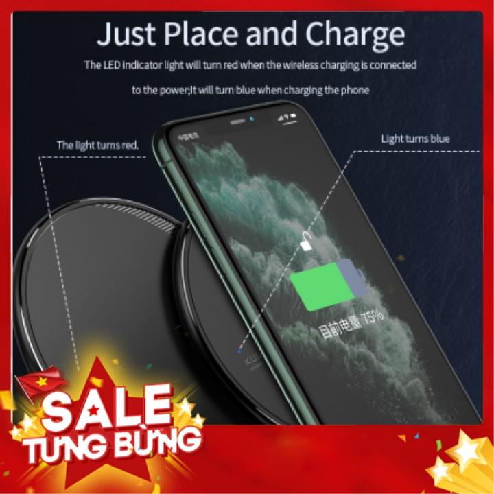 Đế Sạc Nhanh KUULAA Không Dây Tiện Dụng Cho iPhone X/XS Max XR 8 Plus/Samsung BH 1 đổi 1  poogroup