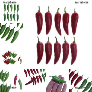 warmhome 10pcs Artificial Dollhouse Chili Pepper Red Green Plastic Decorative Vegetable P thro