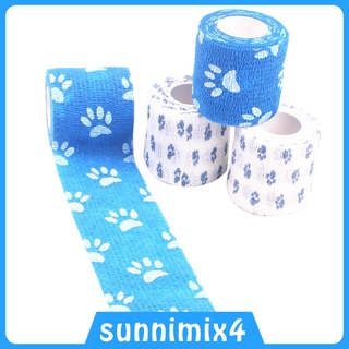 [HSports&Fitness] 4 Pieces Self-Adhesive Bandage Athletic Pet First Aid Tapes with Paw Print