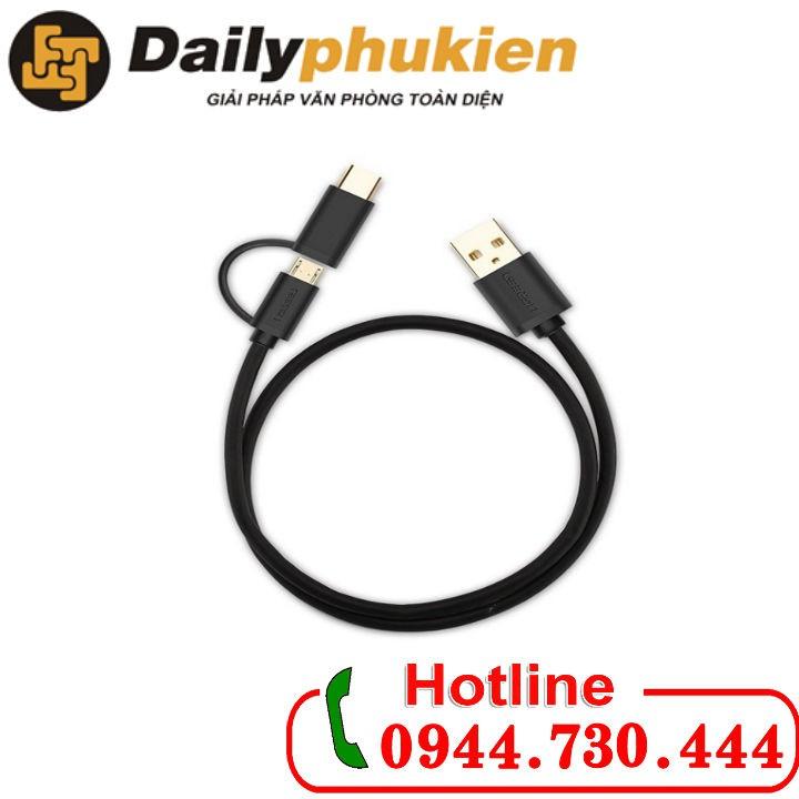 Cáp USB ra Micro USB và Type-C 2m Ugreen 30178