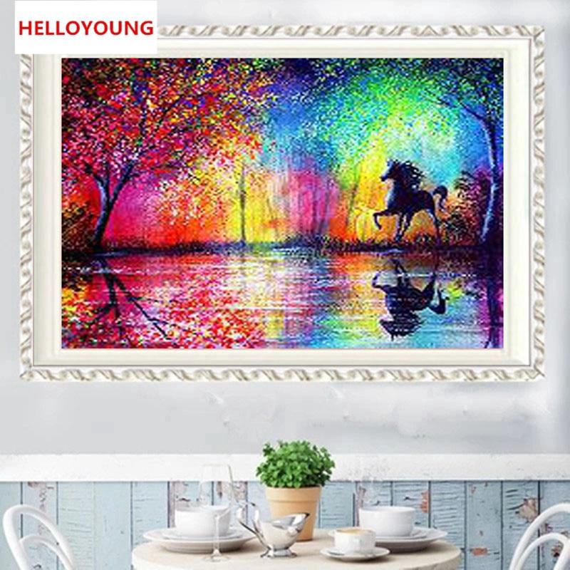 Tranh thêu trang trí thủ công 5D hình ngựa ( mũi thêu hình X )