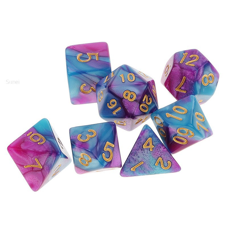 💗Sunei💗7Pcs/ Pack Polyhedral Dice for DND TRPG MTG Party Game Toy Set Purple Blue