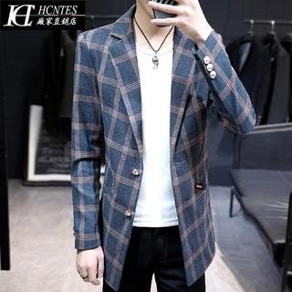 Áo khoác blazer tay dài sọc ca rô thời trang lịch lãm nam tính