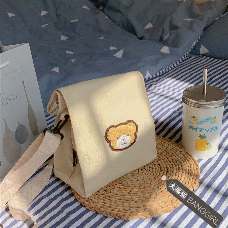 Túi Vải Canvas Hình Gấu Đáng Yêu Phong Cách Retro Cho Nữ