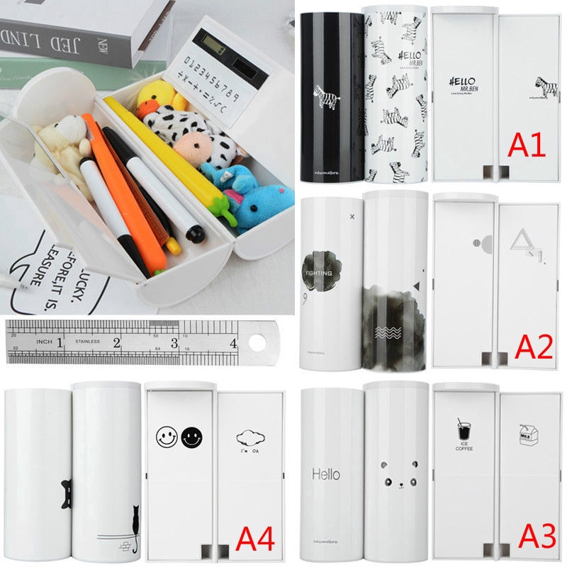 Multifunction Makeup Storage Box Cylindrical Case Pen Holder Organizer Ruler