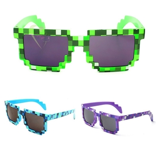 LE Fashion Sunglasses Kids Cosplay Game Toys Minecrafter Square Mosaic Grid Glasses for Men Women @VN