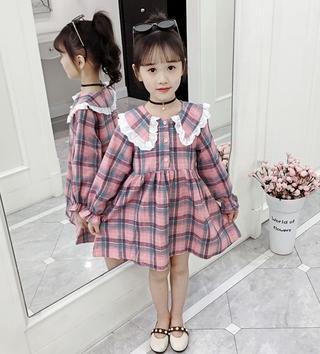 Đầm Cổ Ren Dài Tay Cho Bé Gái (3-12 Tuổi)