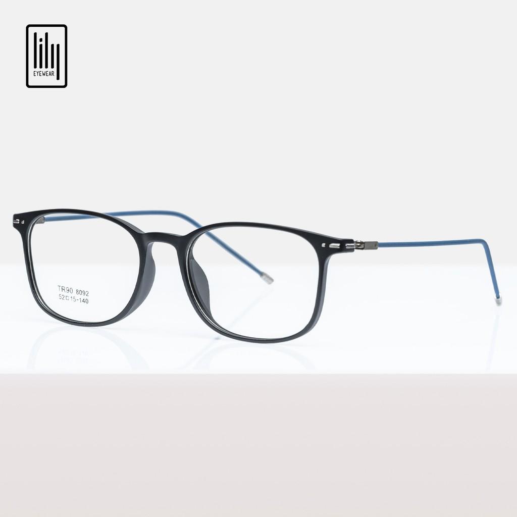 Gọng kính cận nam nữ Lilyeywear nhựa dẻo, mắt tròn vuông, nhiều màu - Y8092