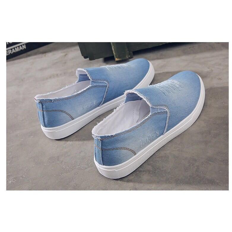 Giày lười vải jeans nam sước màu xanh nhạt phong cách Hàn Quốc Ts061
