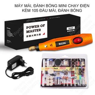 (Bigshop) Máy mài, đánh bóng mini cầm tay chạy điện 220V/12VDC kèm bộ phụ kiện đầu mài, đánh bóng