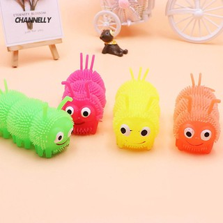■Cy Cartoon Caterpillar LED Flashing Puffer Ball Squeeze Decompression Kids Toy
