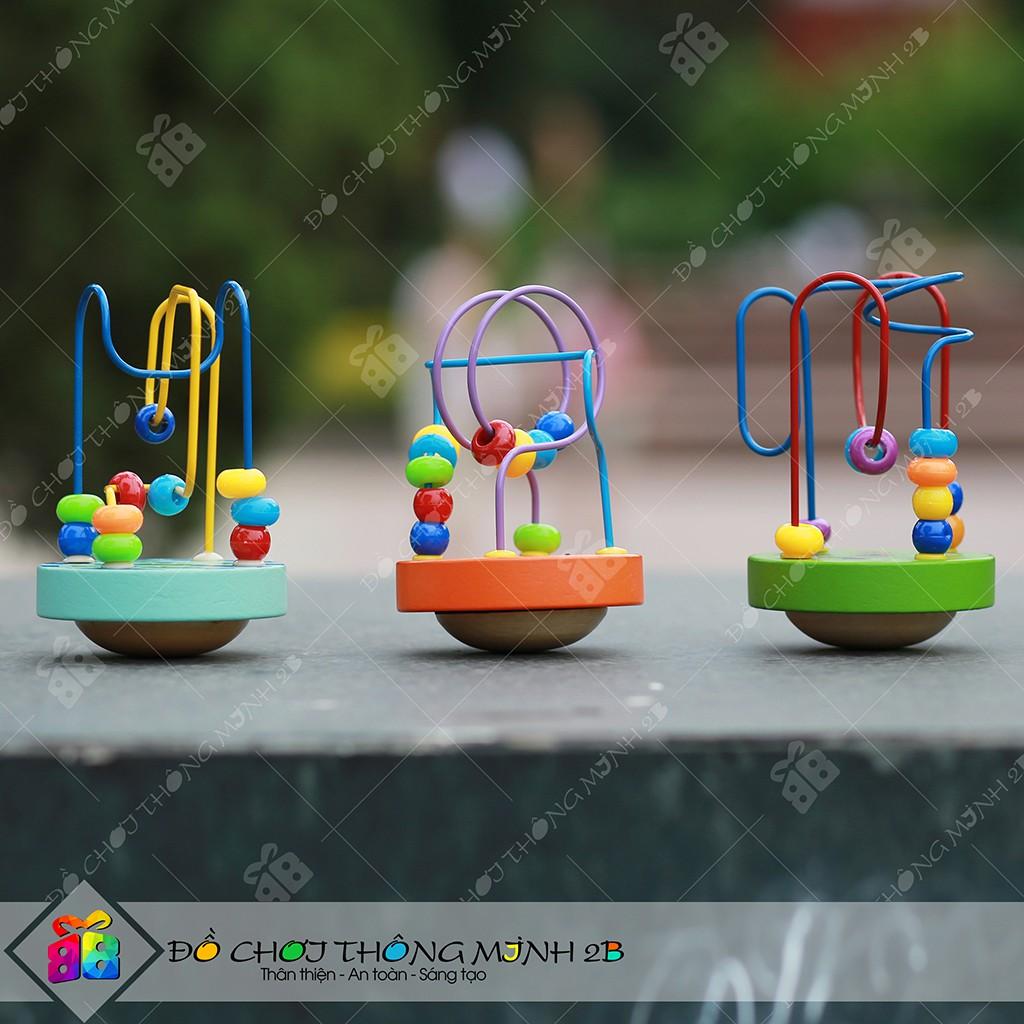 Đồ chơi gỗ Bộ luồn hạt dạng lật đật tự cân bằng