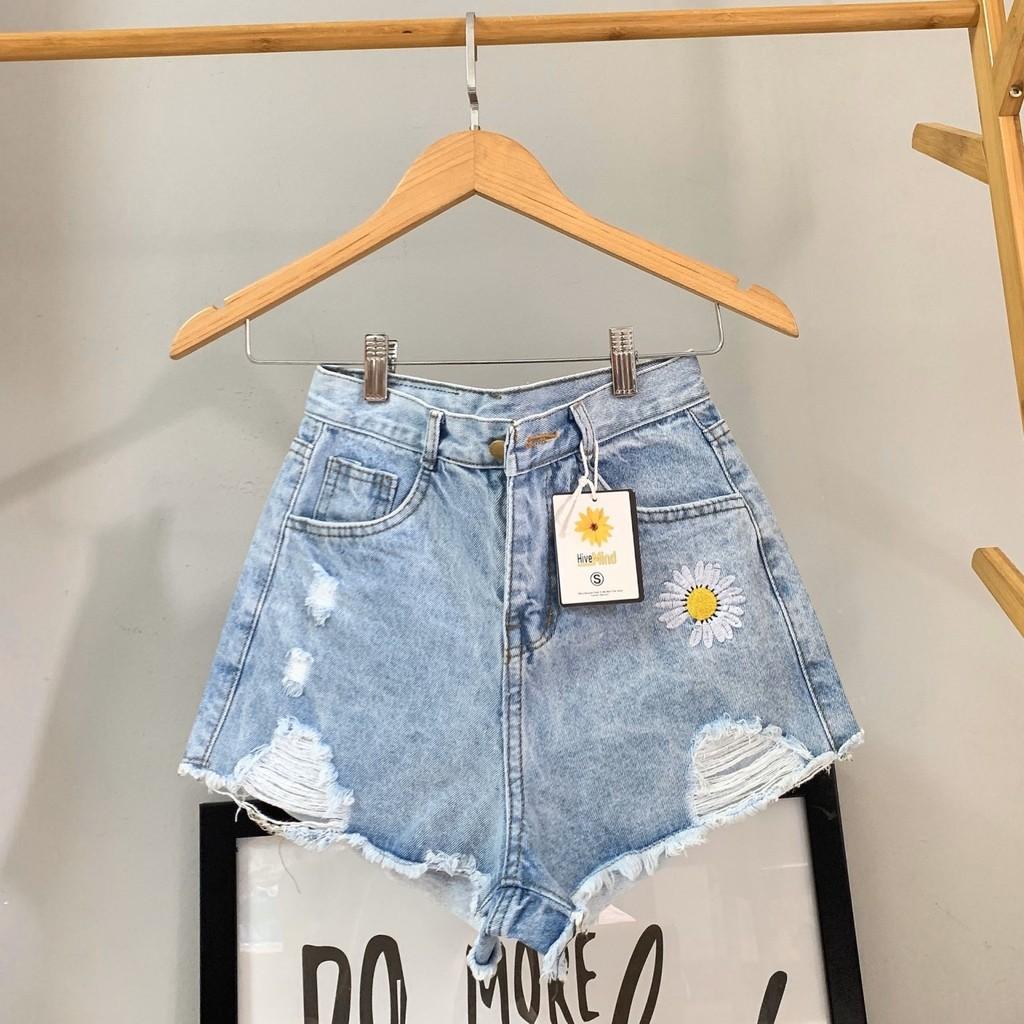 [Mã WASEPRN hoàn 20% xu đơn 99k] Quần short jean nữ lưng cao thêu bông hoa King168 , quần short nữ cao cấp YT01